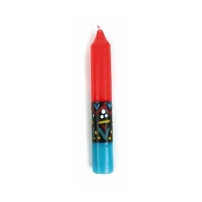 Świeca, czerwona/turkusowa, wys. 15 cm