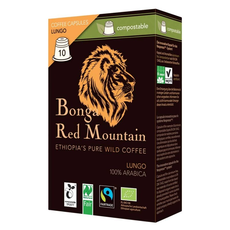 Kawa Bonga Red Mountain Lungo z Etiopii w kapsułkach do Nespresso